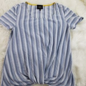 W5 blue and white striped knotted top size s